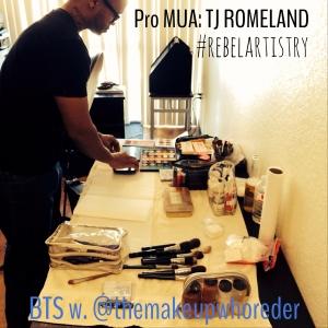 tj romeland themakeupwhoreder bts MUA