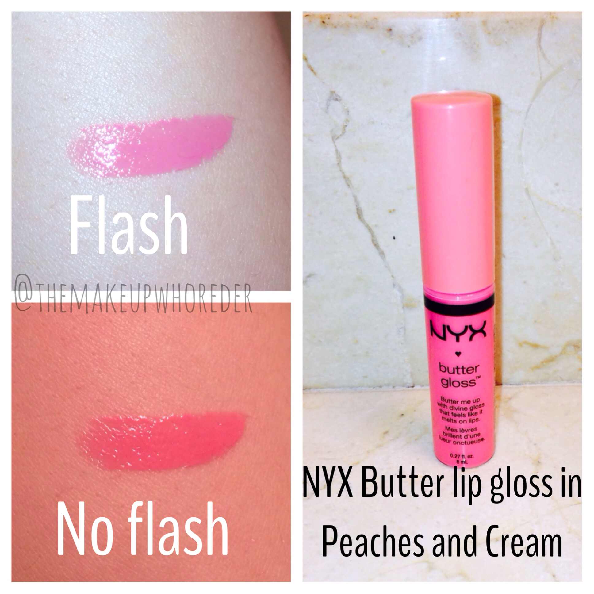 Swatch Nyx Butter Gloss In Peaches And Cream Themakeupwhoreder