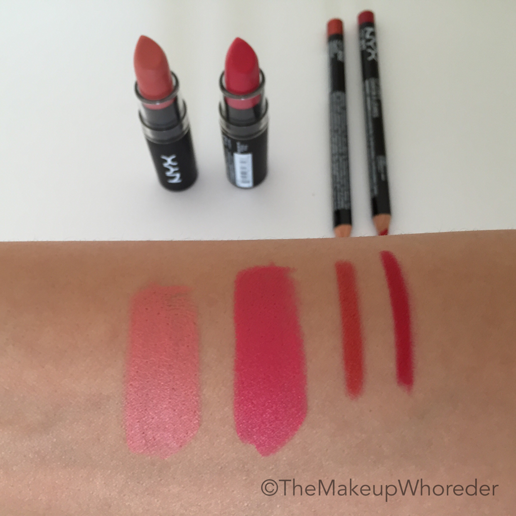 Floral Lips For Spring Swatch Of NYX Cosmetics Matte Lipsticks In Temptress